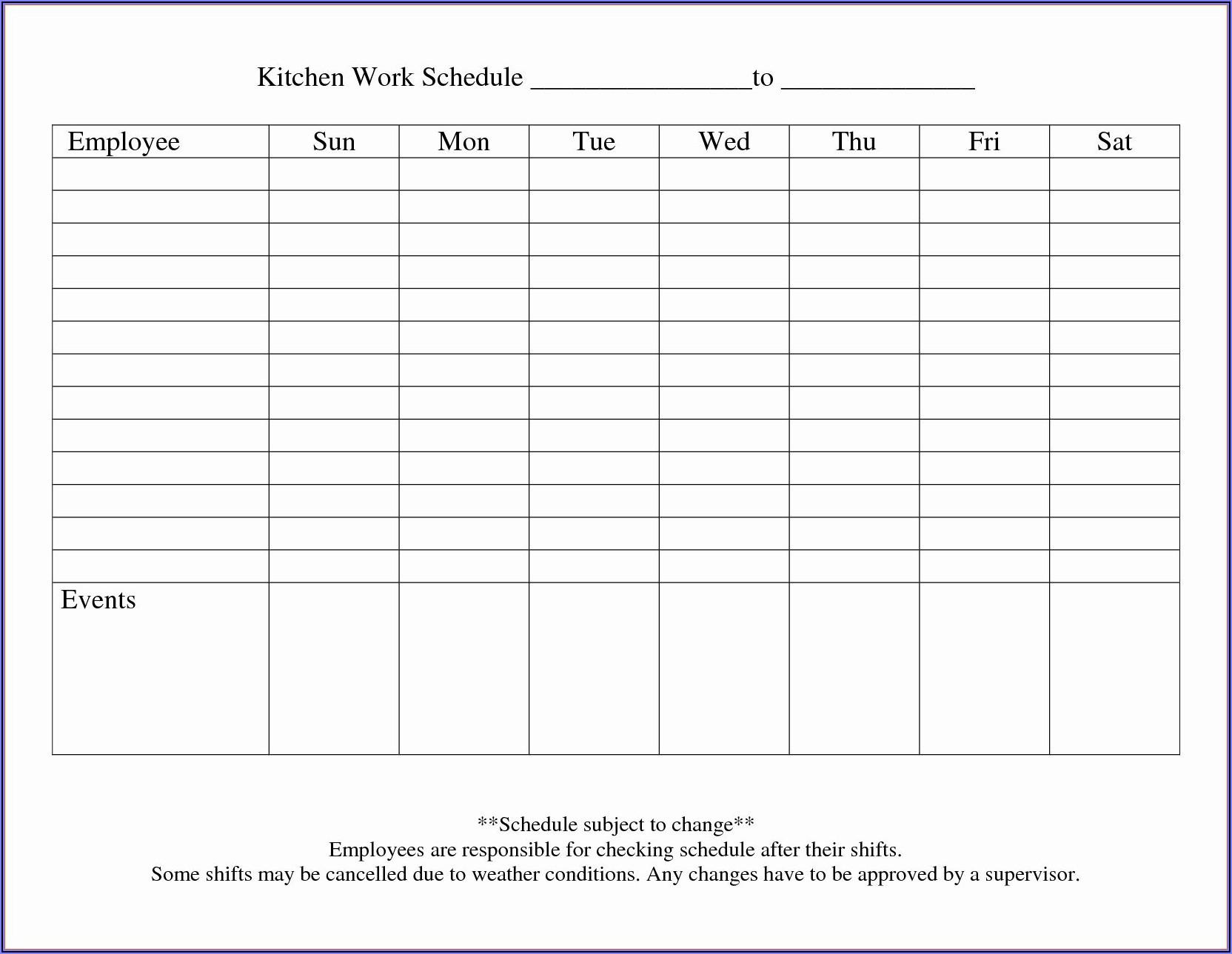 Blank Work Schedule Template Monthly