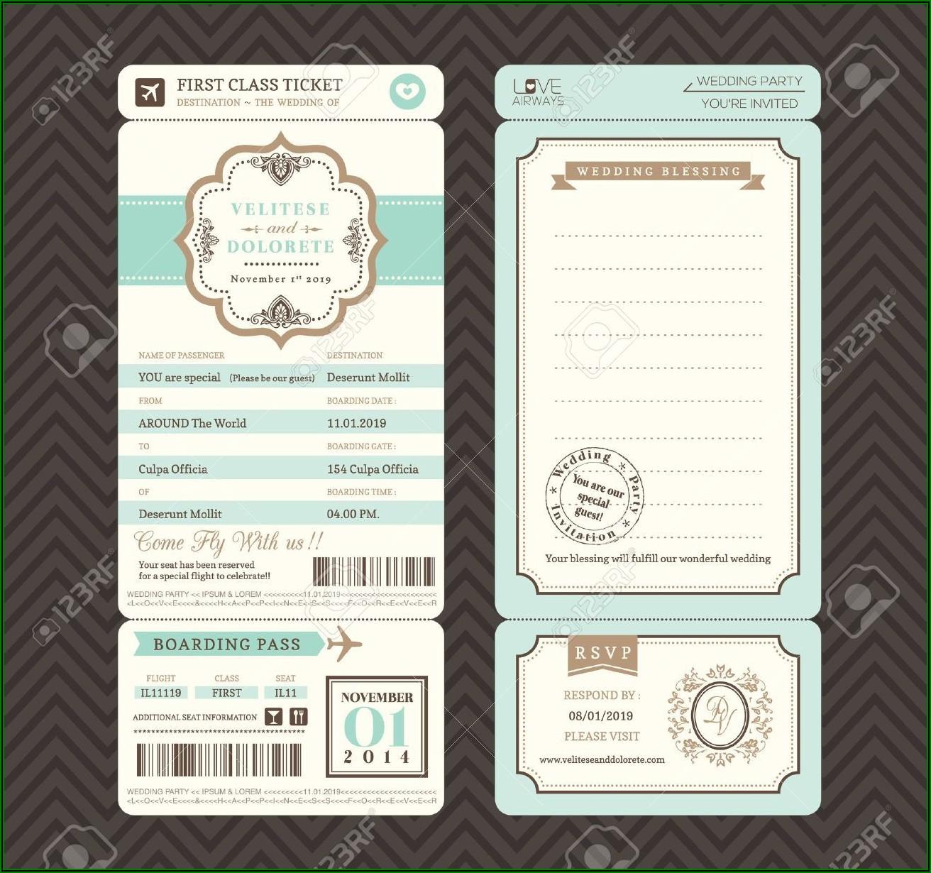 Boarding Pass Style Wedding Invitation Template