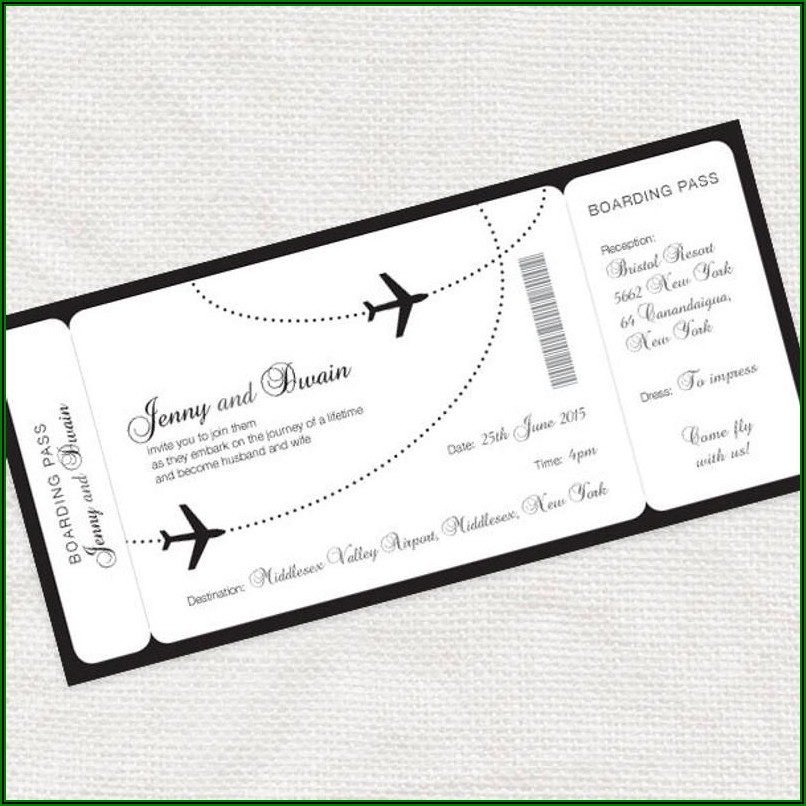 Boarding Pass Wedding Invitation Printable