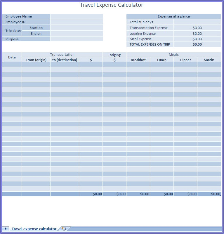 Business Expense Report Template Excel