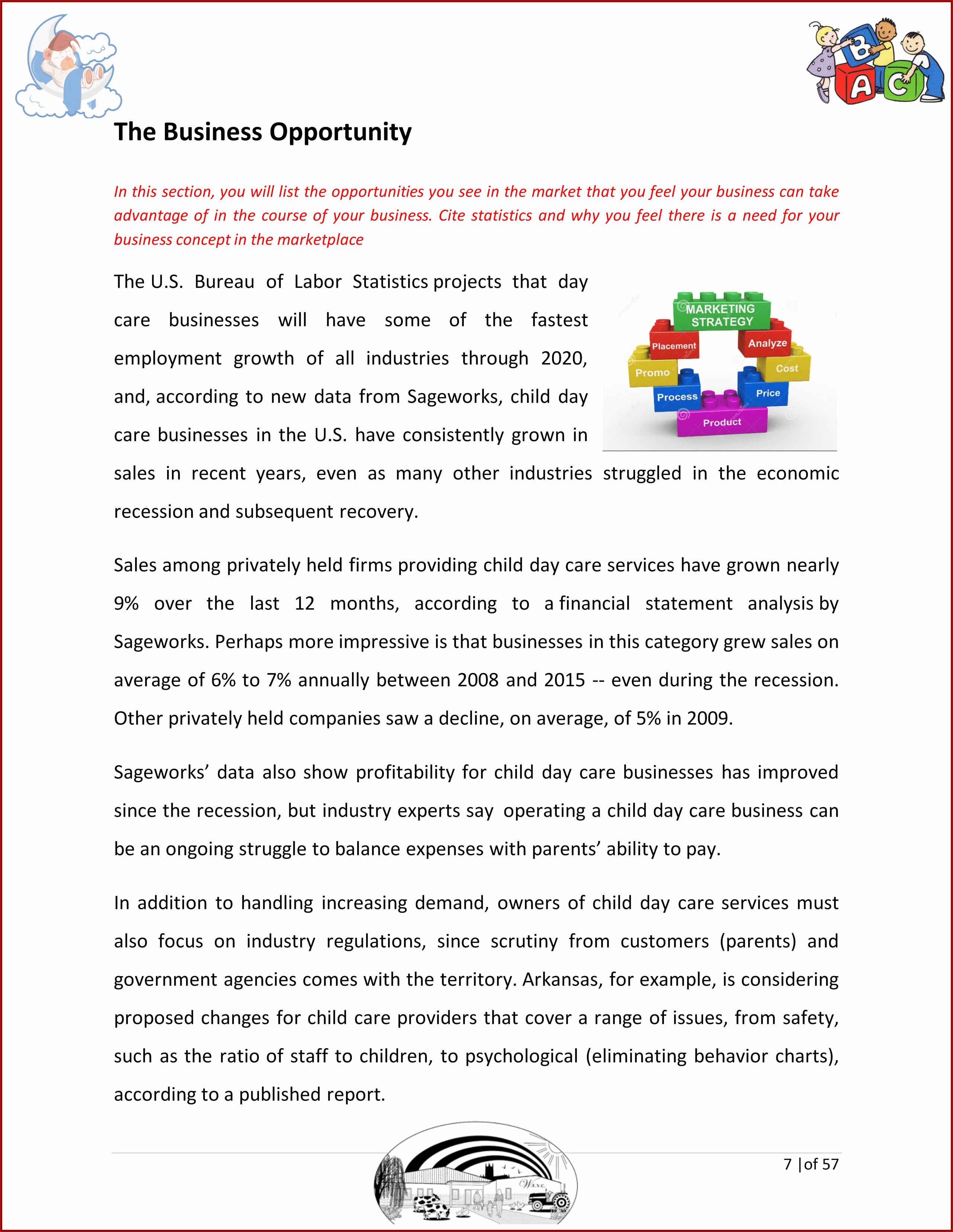 Business Plan Template For Child Care Center
