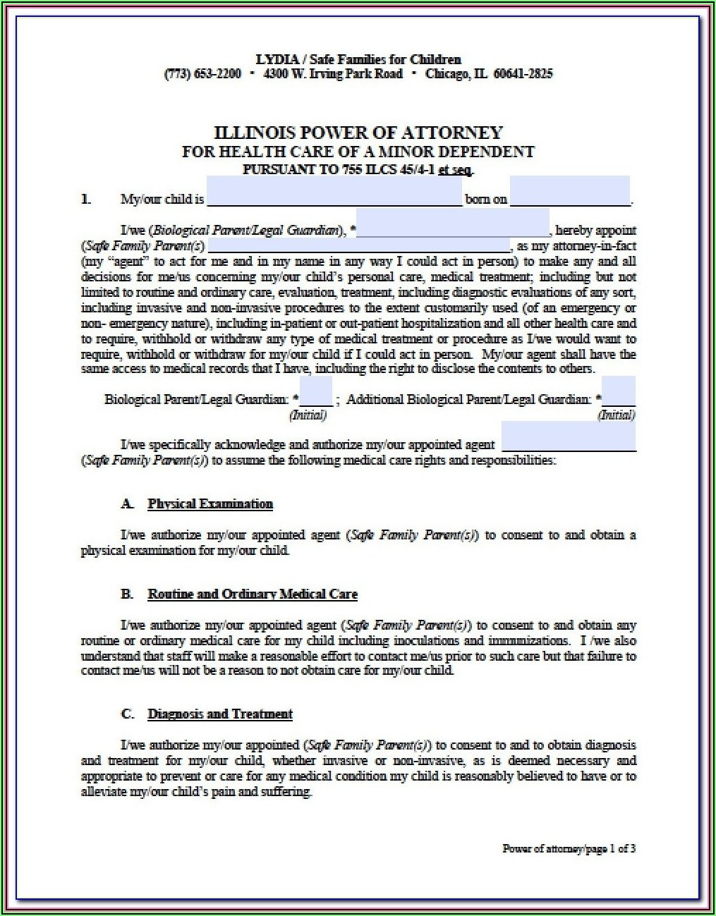 Business Power Of Attorney Form Illinois