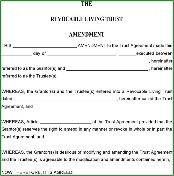California Living Trust Amendment Form Pdf