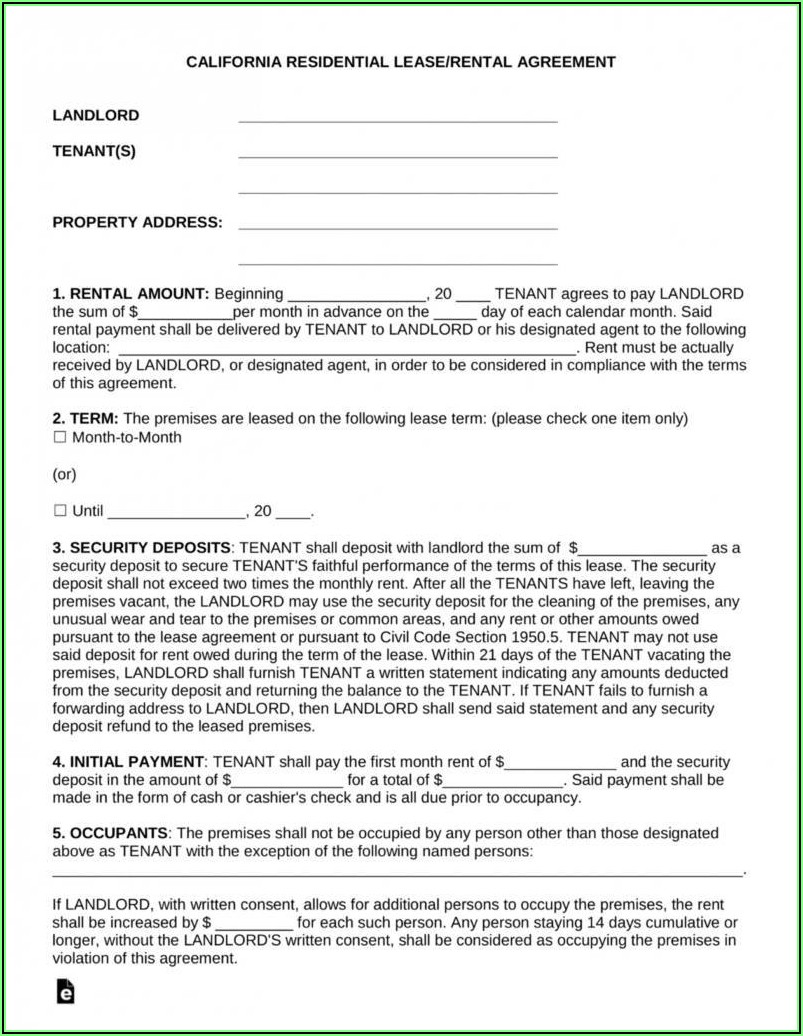 California Residential Lease Agreement Fillable