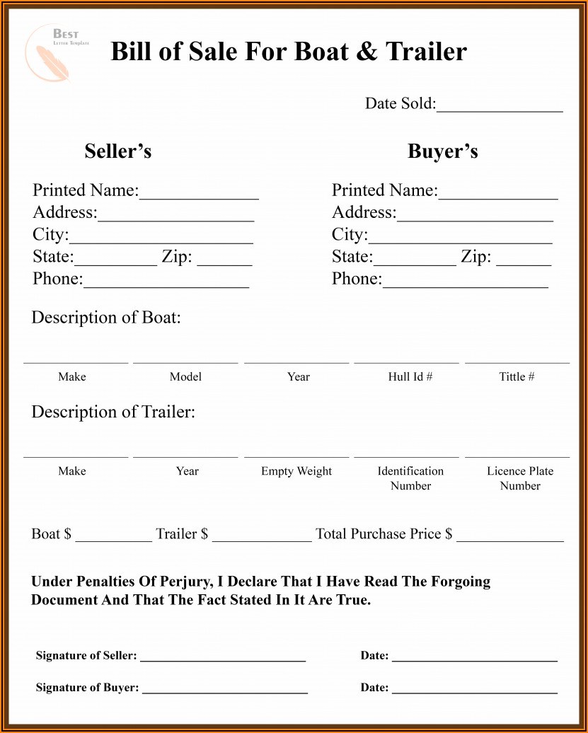 Car Bill Of Sale Form Pdf