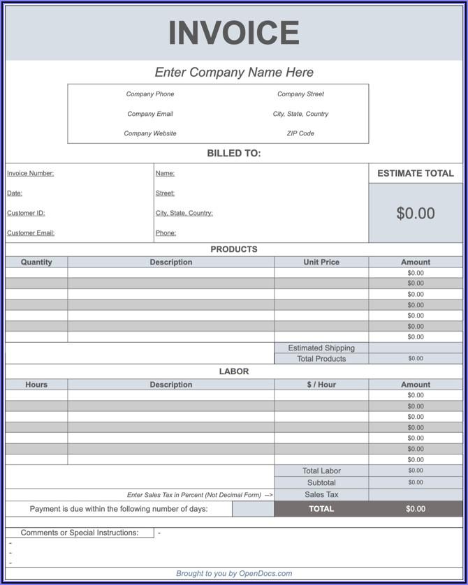 Car Service Invoice Template Word