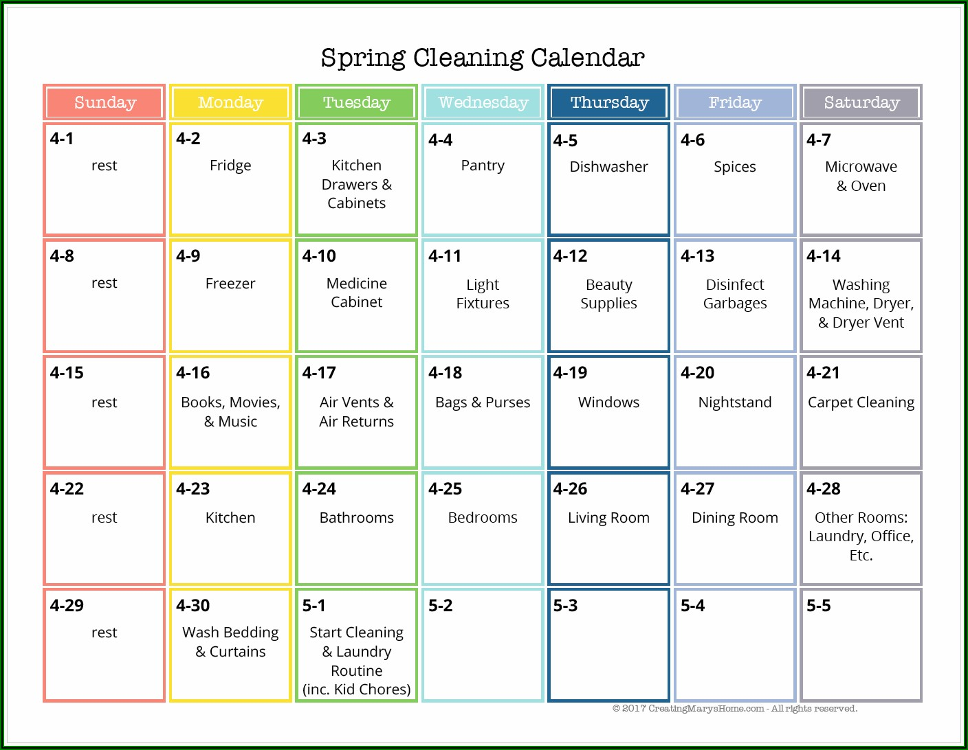 Care Home Cleaning Schedule Template