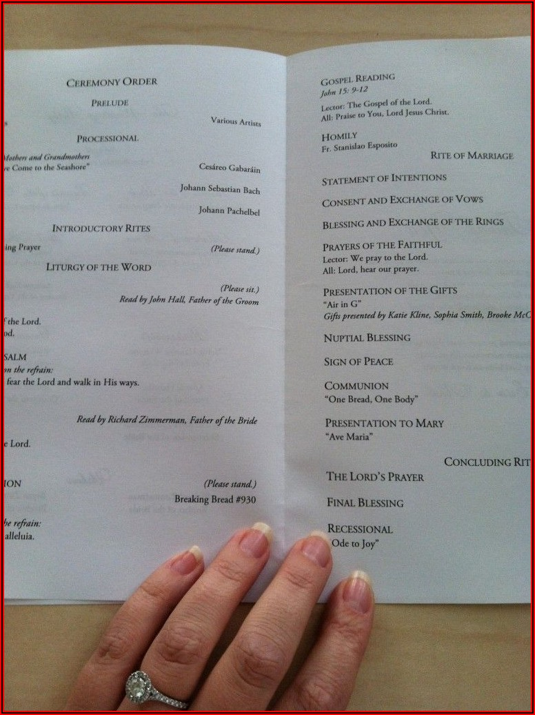 Catholic Wedding Ceremony With Mass Program Templates