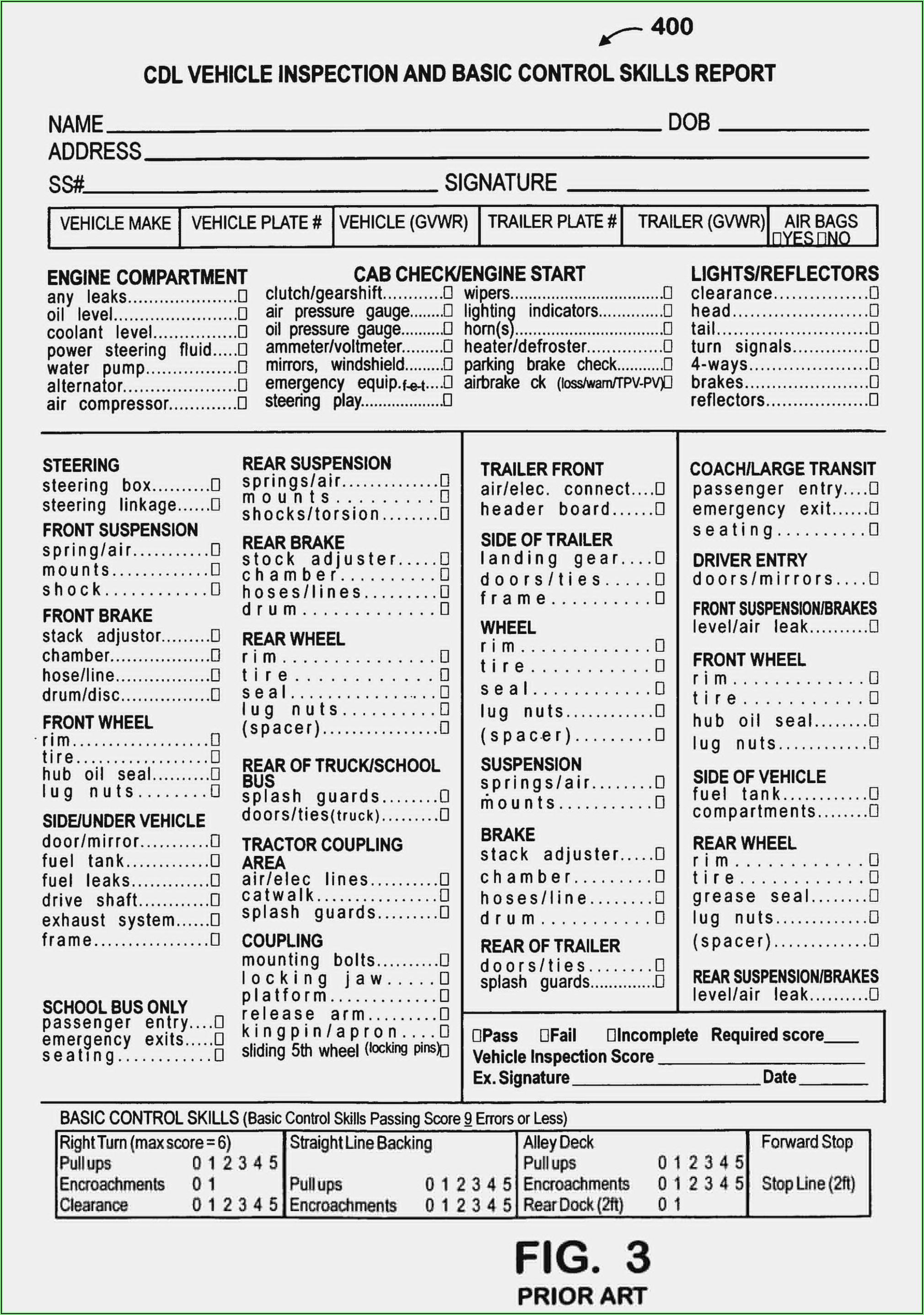 Cdl Pre Trip Inspection Form Pdf