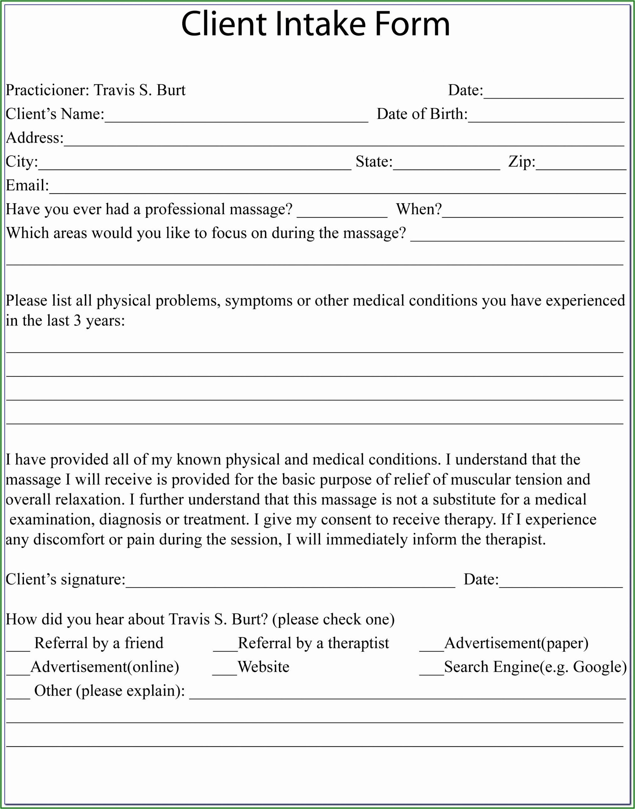 Client Intake Form Psychotherapy