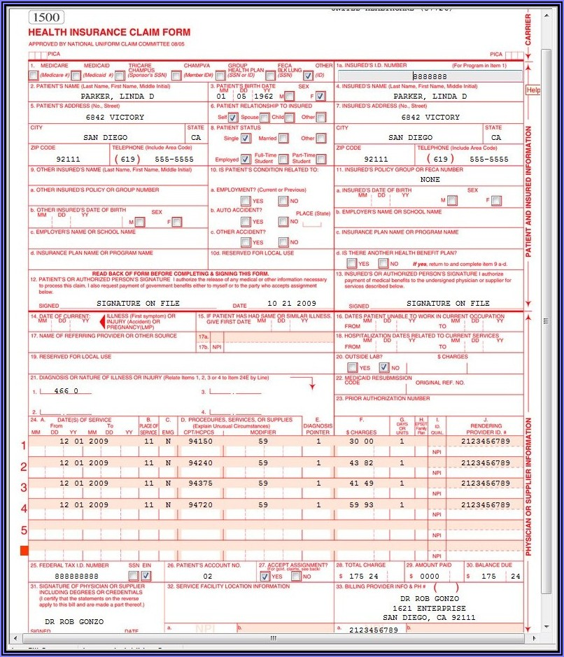 Cms 1500 And Ub 04 Form Can Be Used Interchangeably
