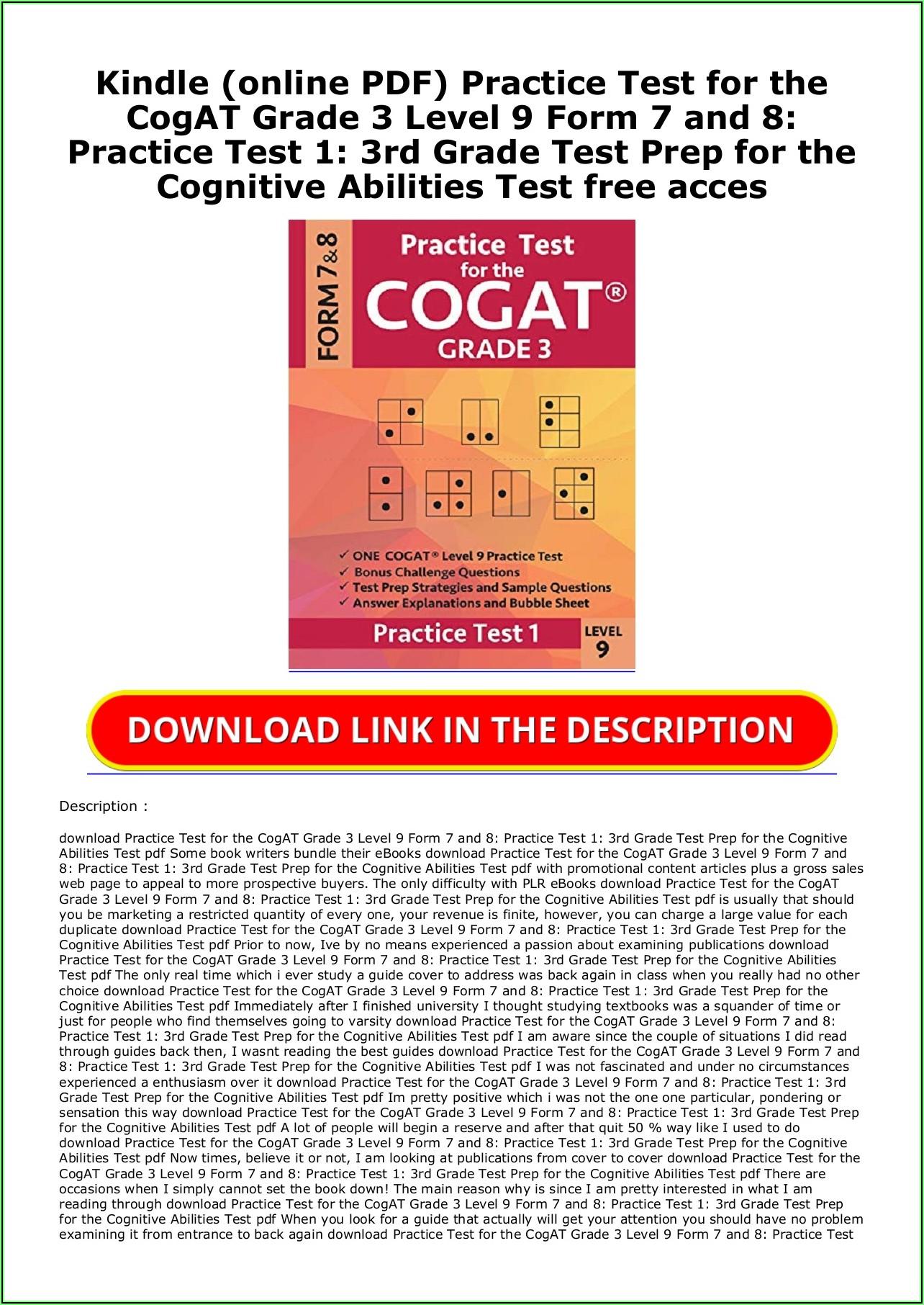 Cogat Form 7 Level 8 Pdf