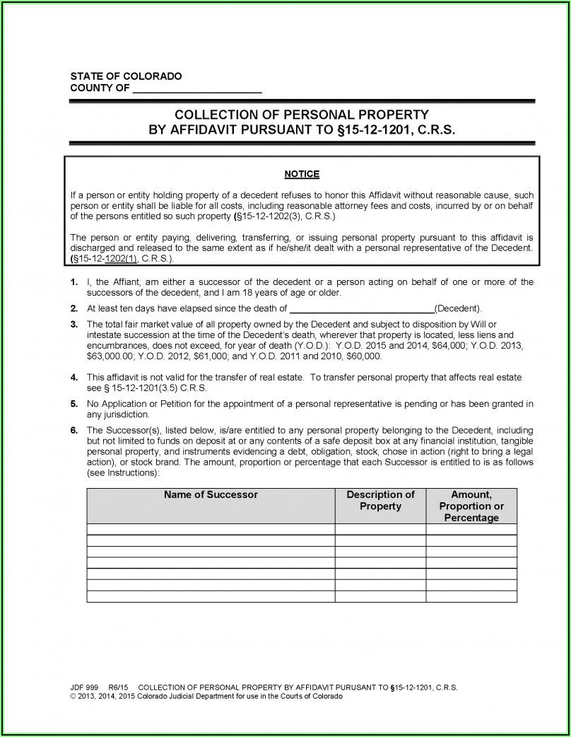 Colorado Personal Representative's Deed Of Distribution Form