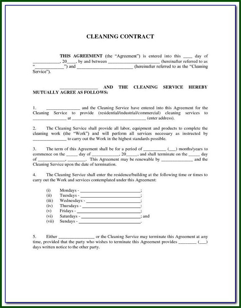 Commercial Carpet Cleaning Contract Template