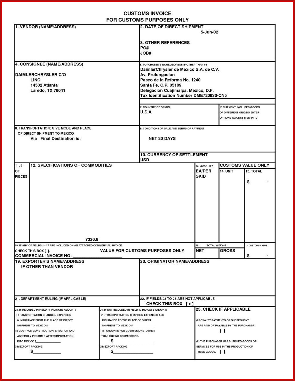 Commercial Invoice Template Canada To Us