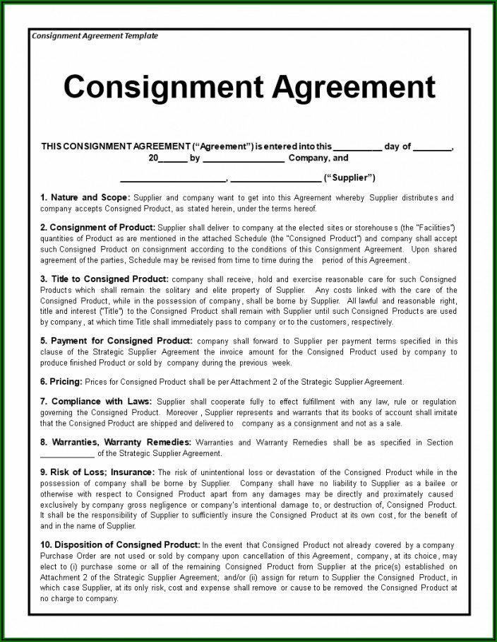 Consignment Stock Agreement Sample