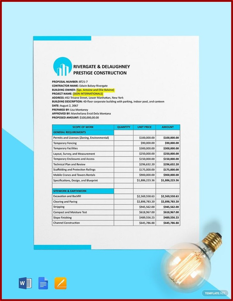 Construction Cost Estimate Template Word