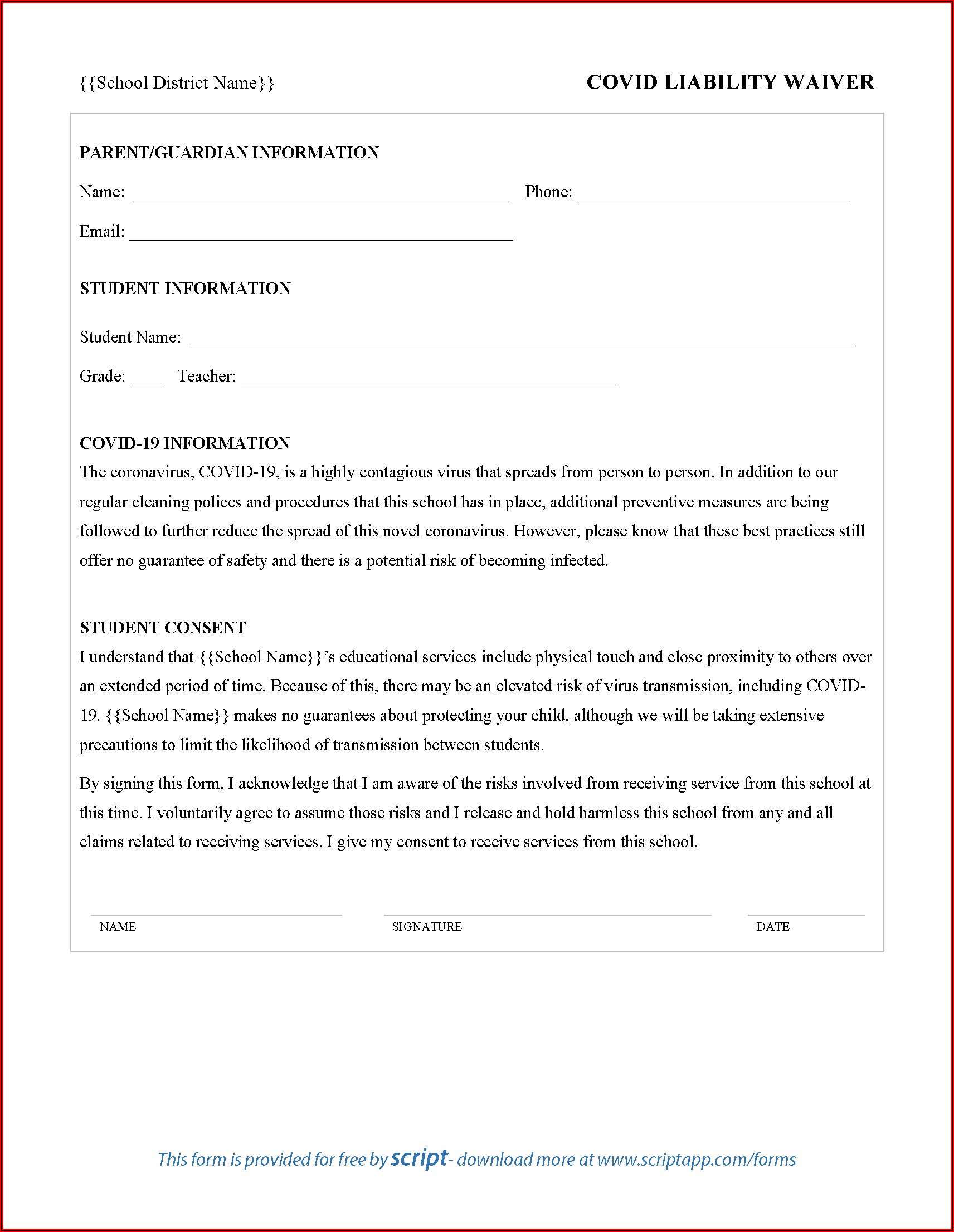 Covid 19 Release Of Liability Waiver Template