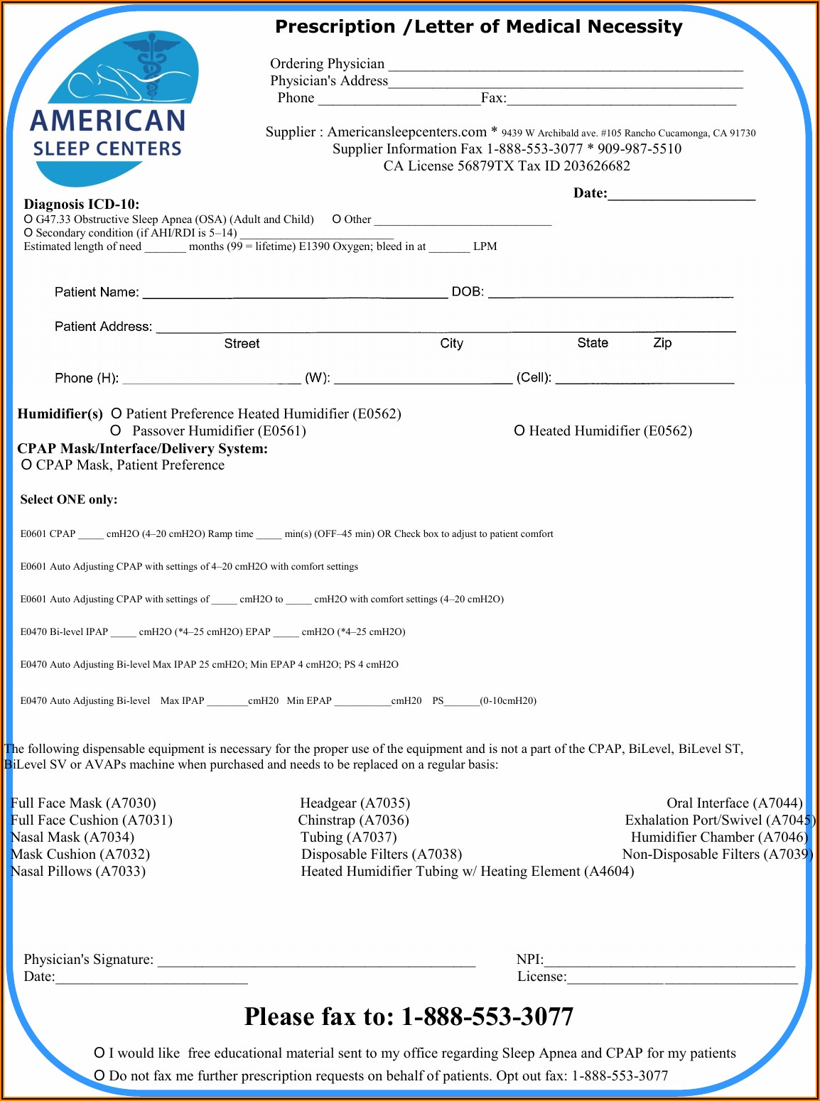 Cpap Rx Form