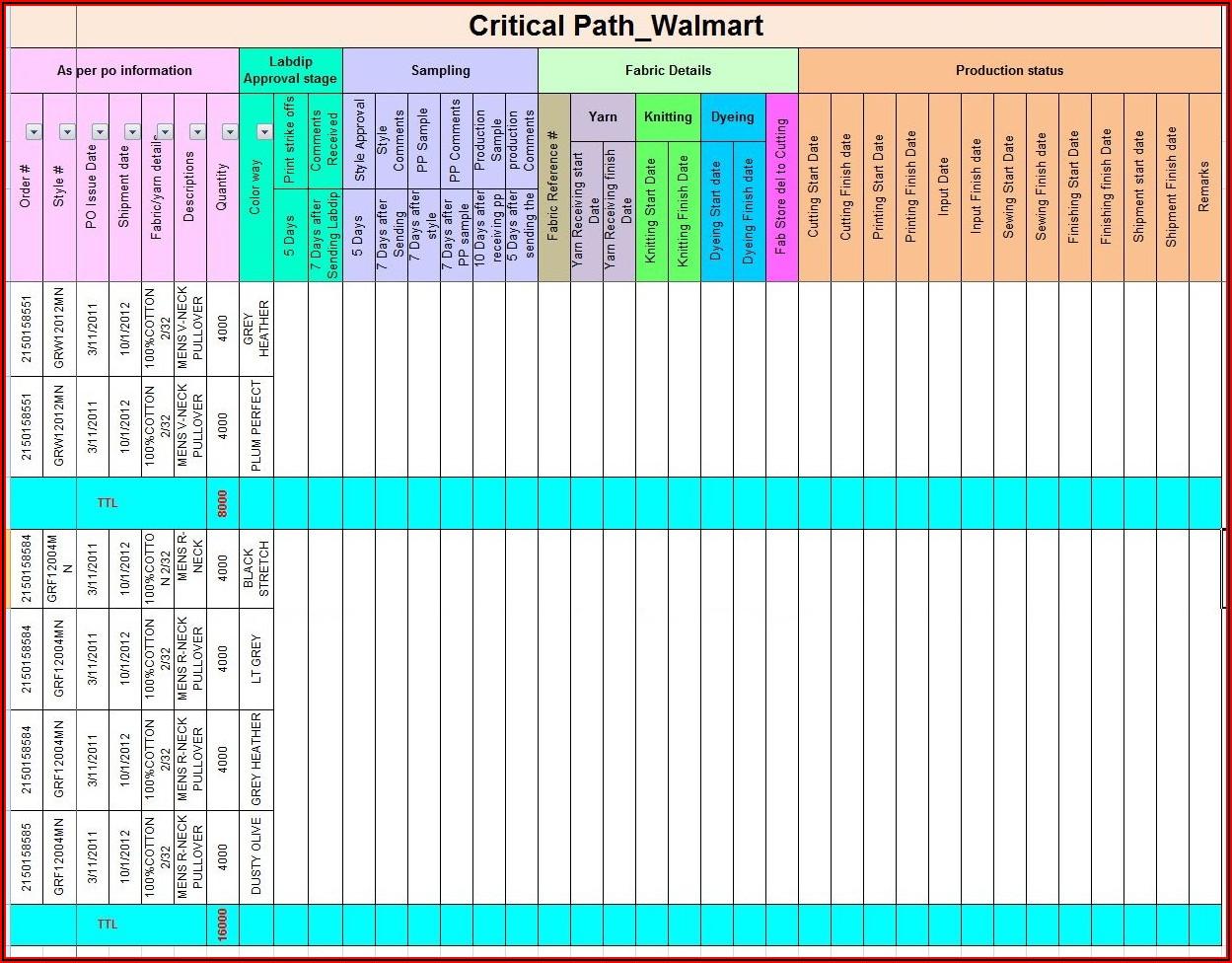 Critical Path Calendar Template