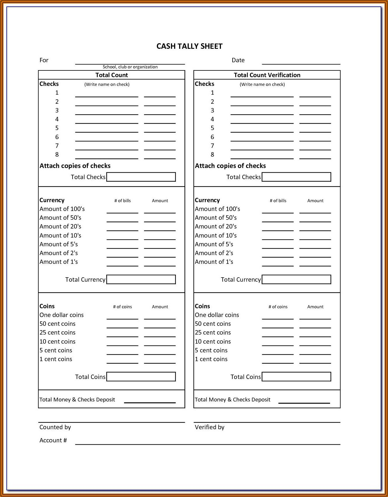 Daily Cash Drawer Reconciliation Form