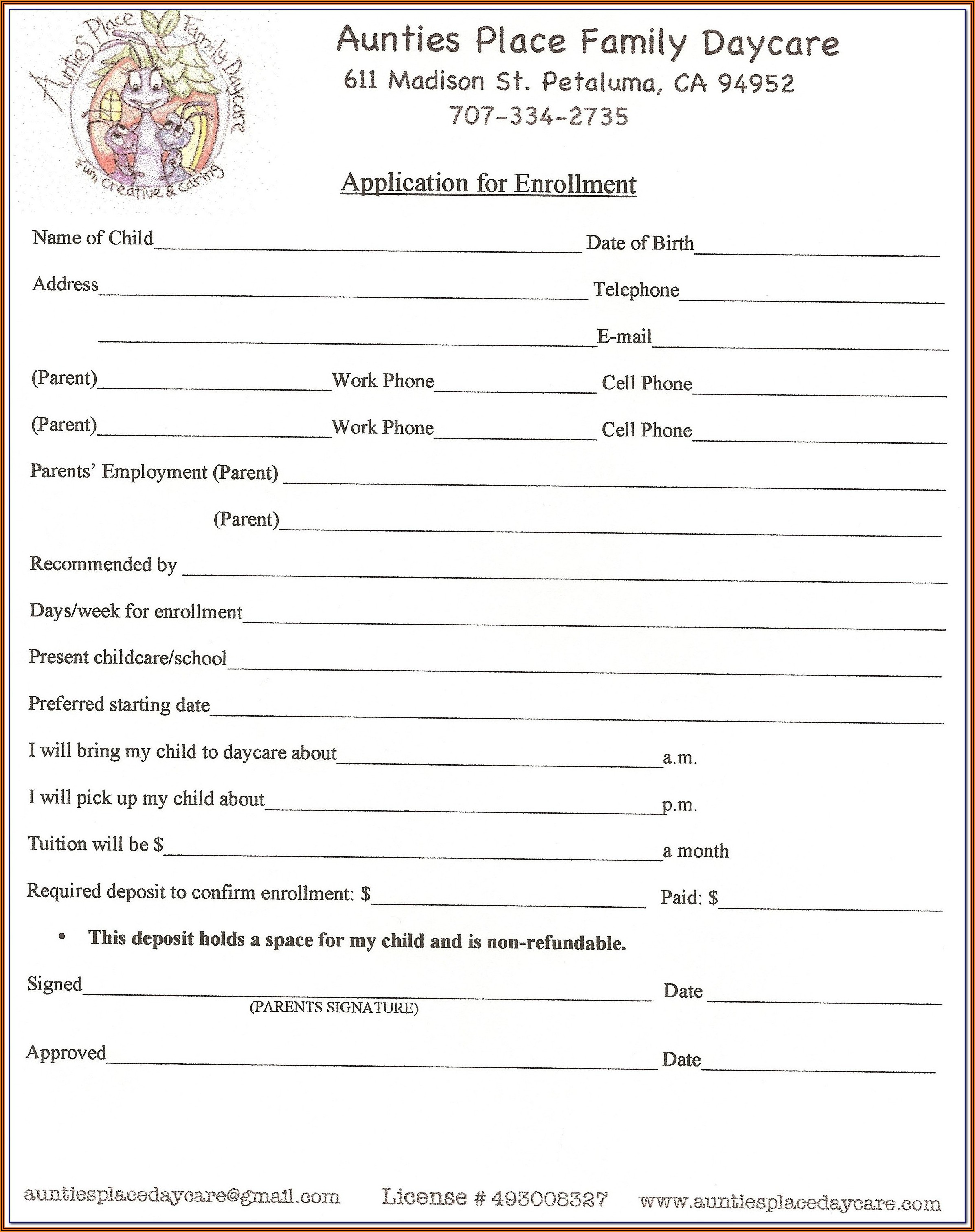 Daycare Attendance Forms