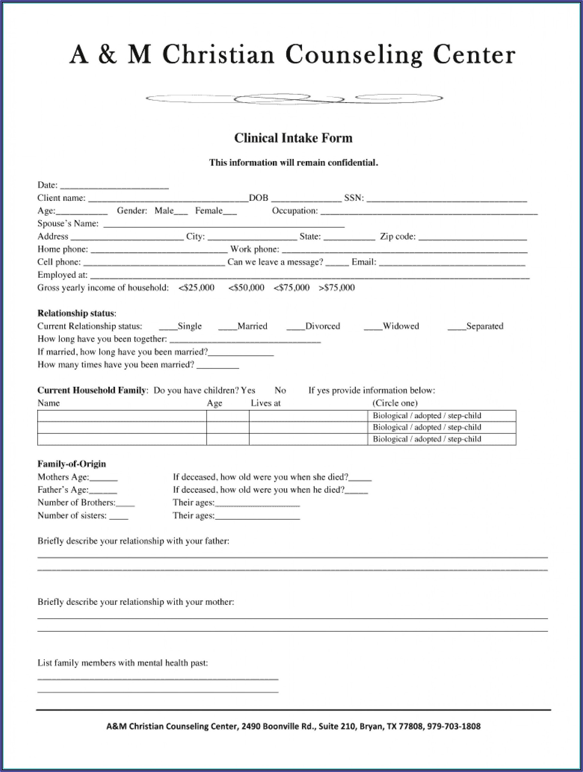 Divorce Client Intake Form