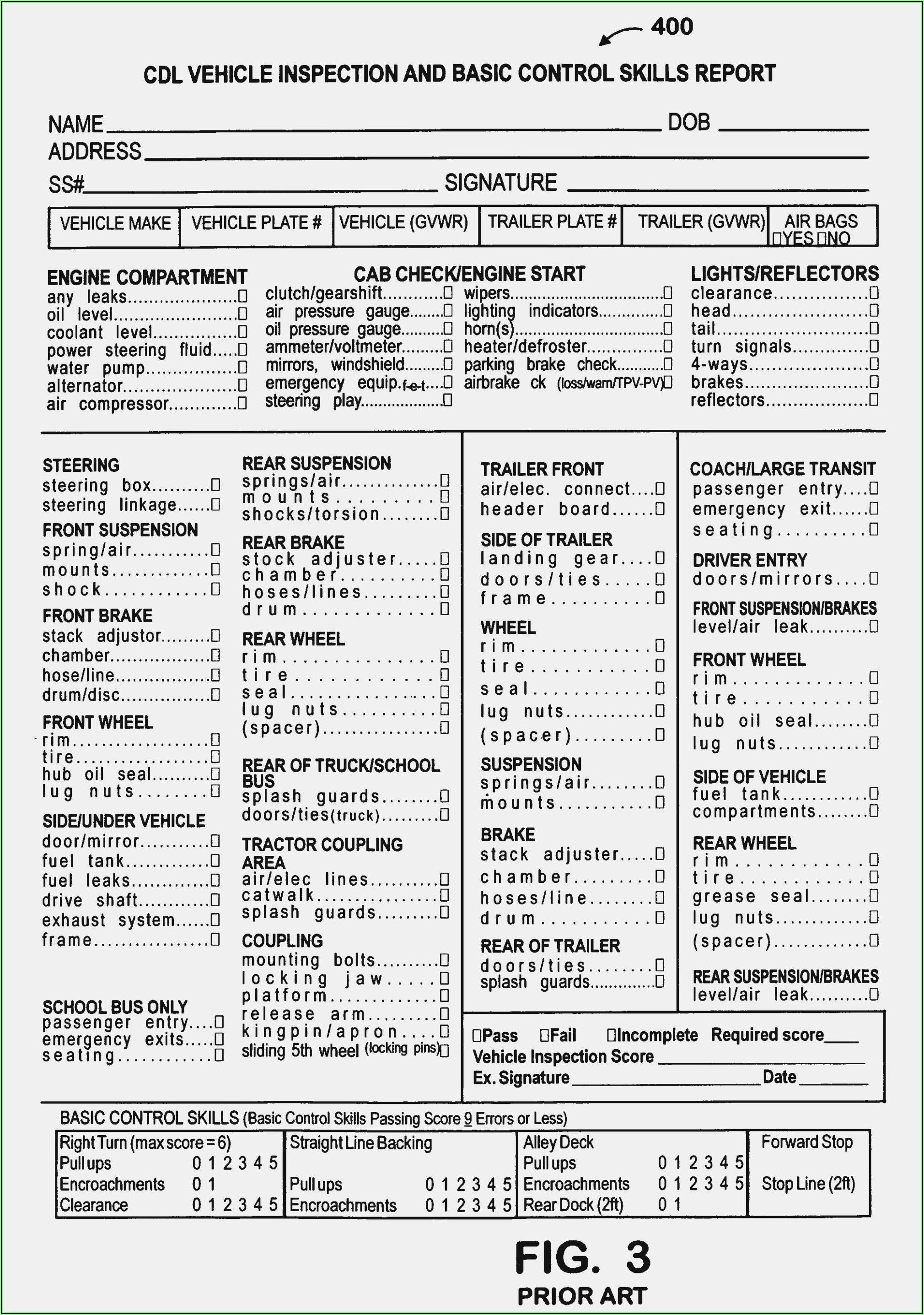 Dot Cdl Pre Trip Inspection Form