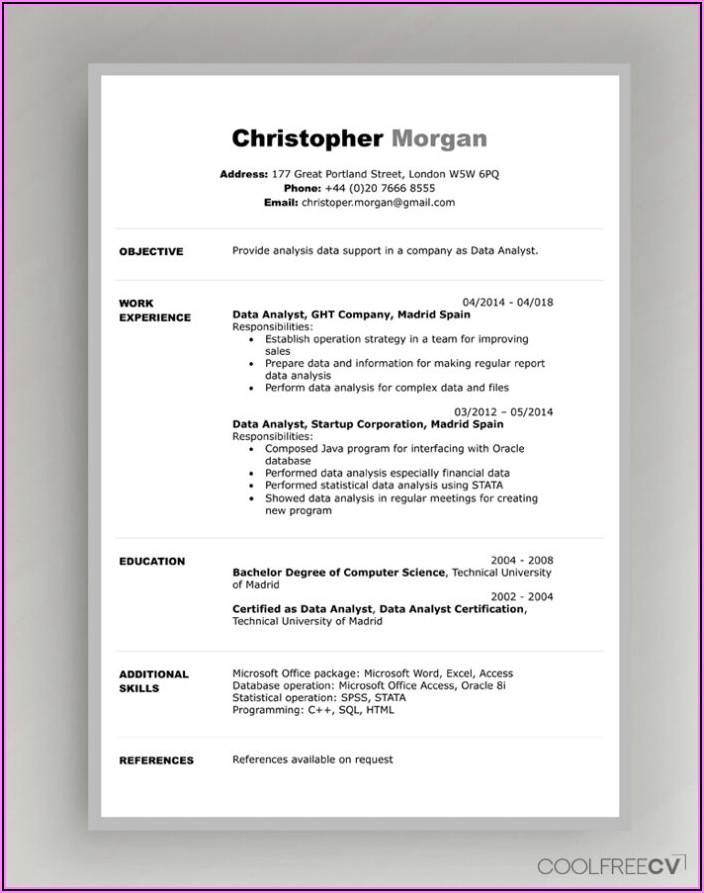 Downloadable Resumes Templates For Word