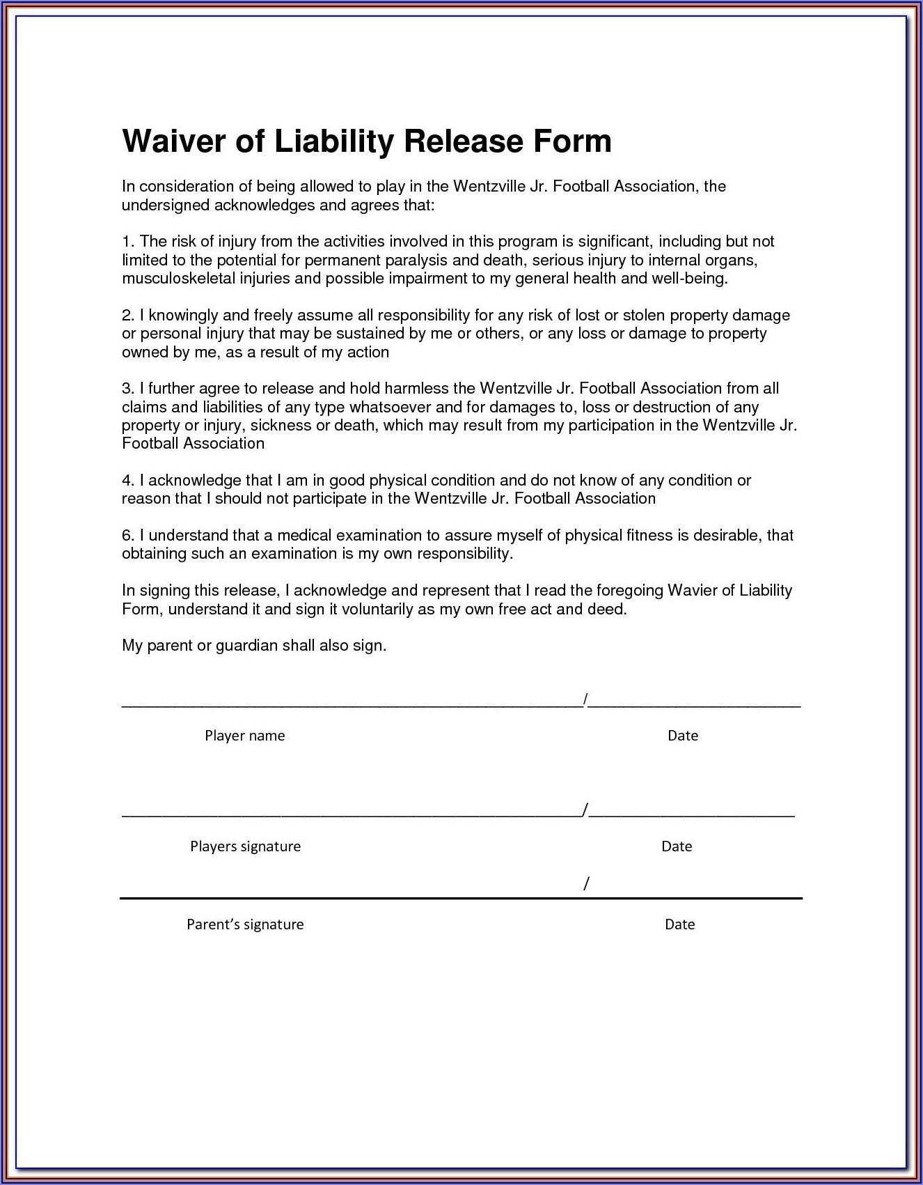 Equine Liability Waiver Form