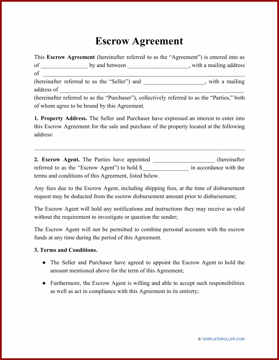 Escrow Agreement Template Pdf