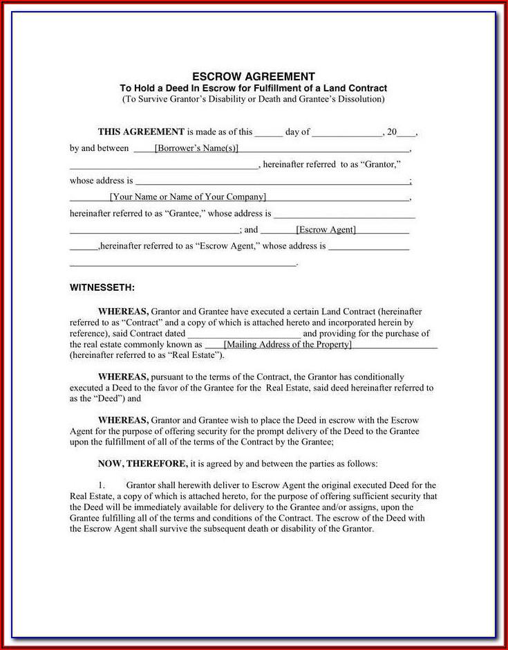 Escrow Agreement Template Uk