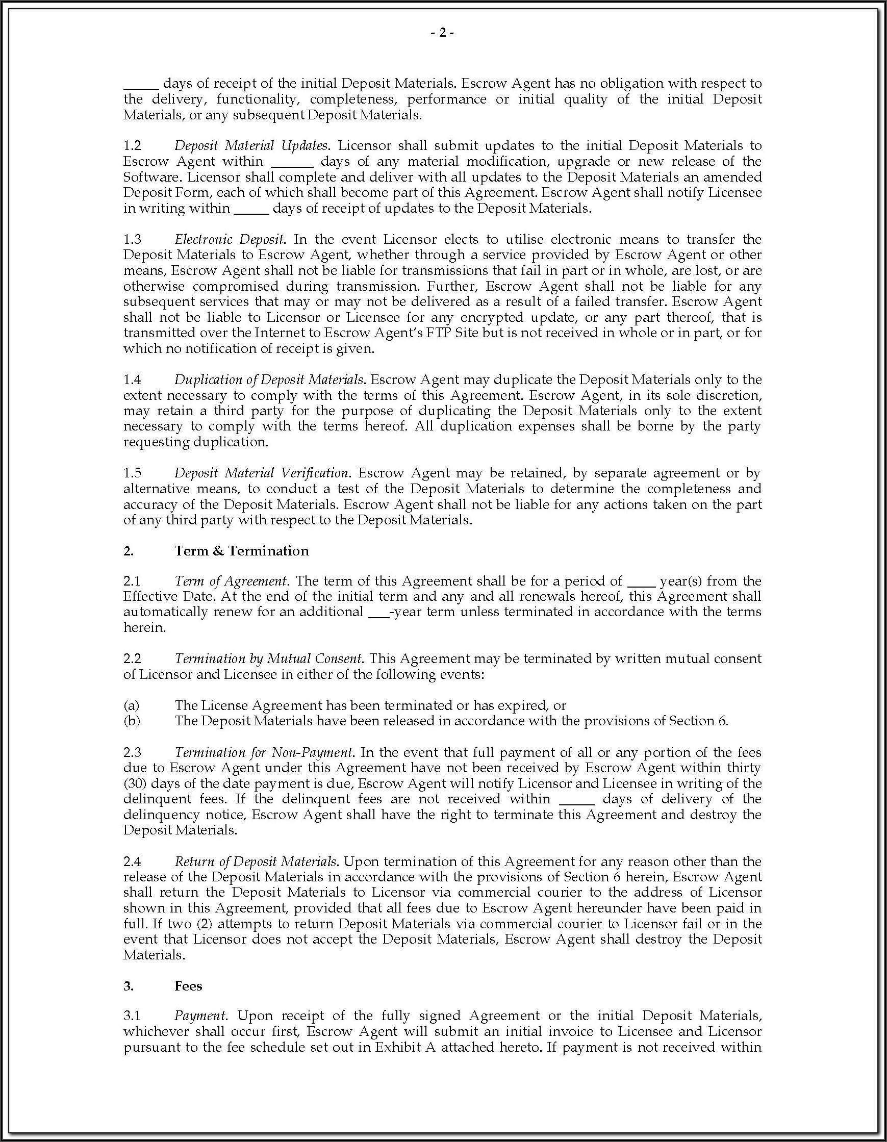 Escrow Holdback Agreement Template