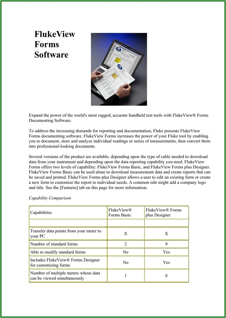 Fluke Fvf Sc2 Flukeview Forms Software With Cable
