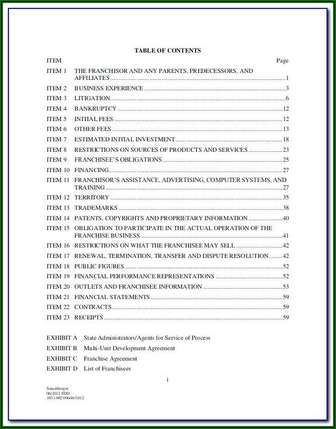Franchise Disclosure Document Sample Pdf