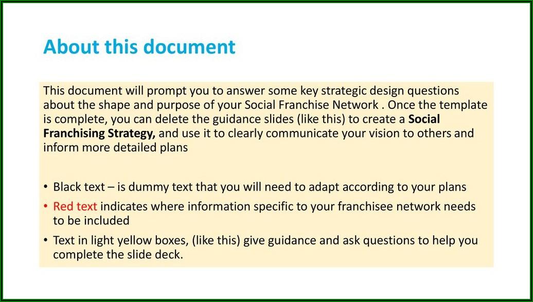 Franchise Disclosure Document Template