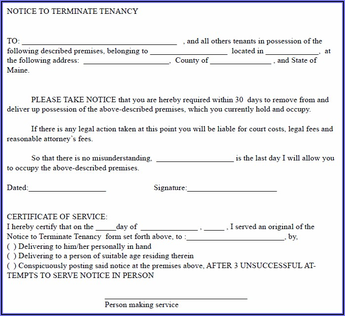 Free 30 Day Notice Letter To Landlord Template
