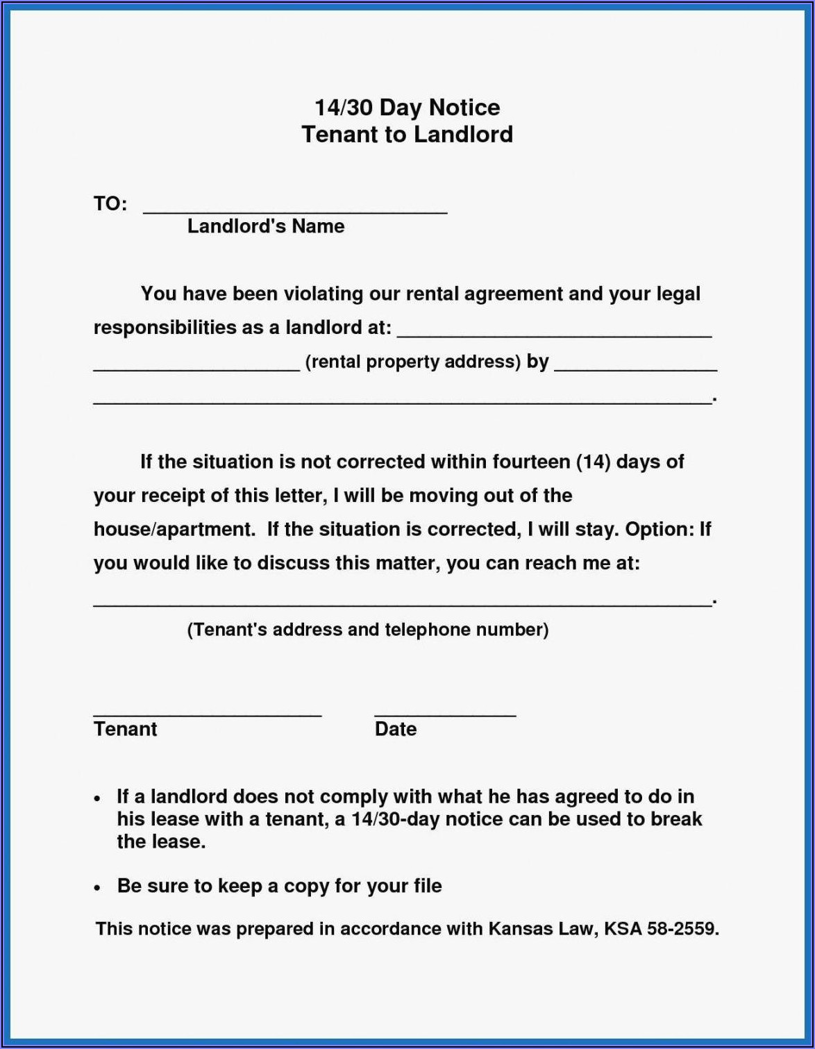 Free 30 Day Notice To Landlord Template California