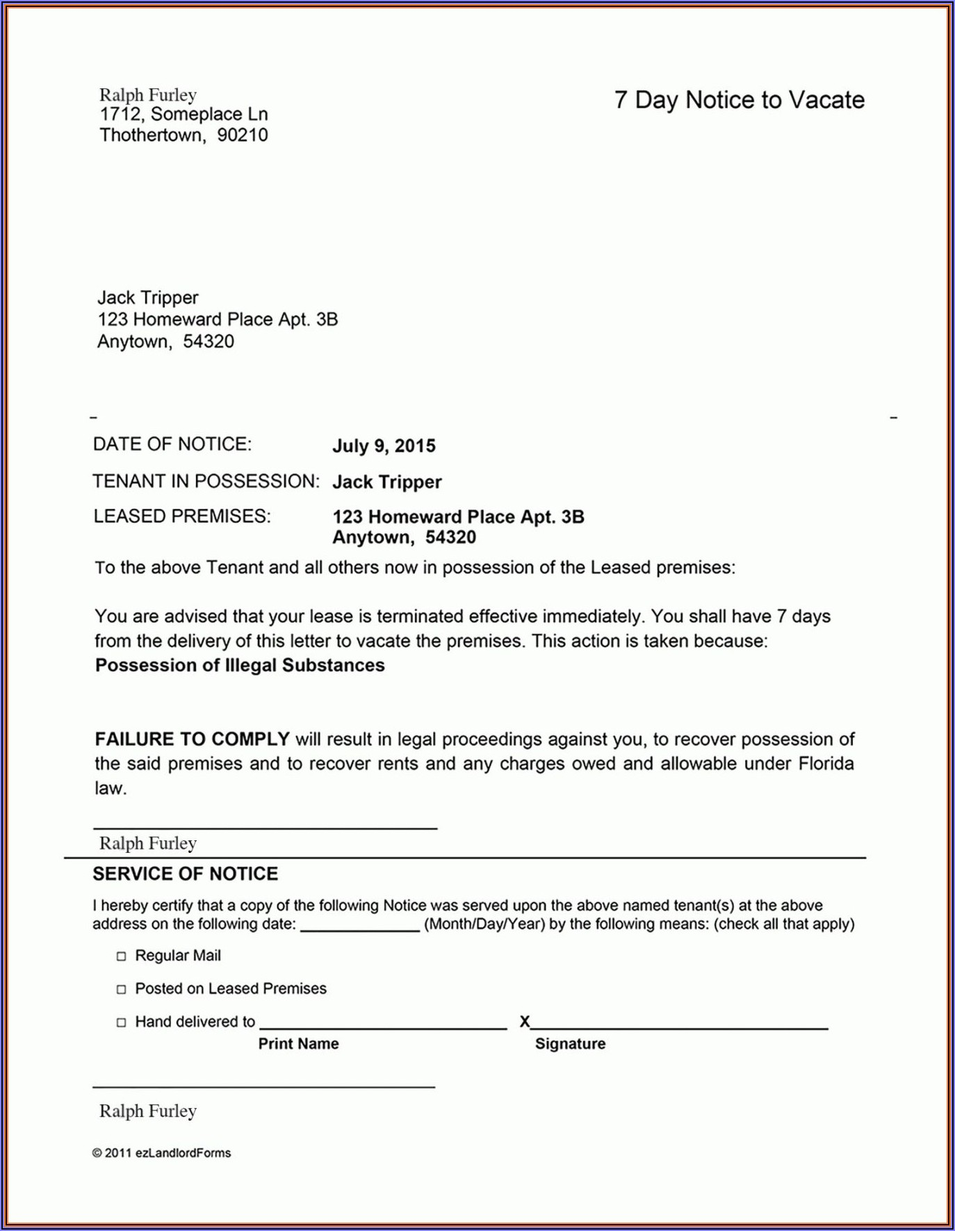 Free 30 Day Notice To Landlord Template