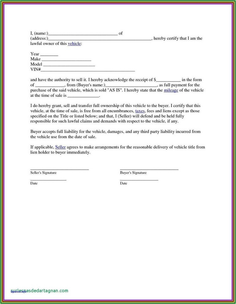 Free Blank Auto Bill Of Sale Form
