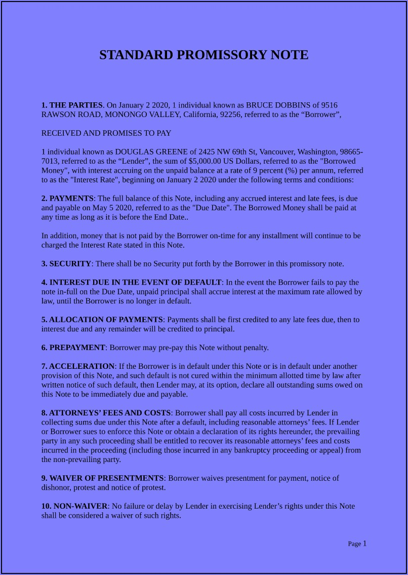 Free Blank Promissory Note Template