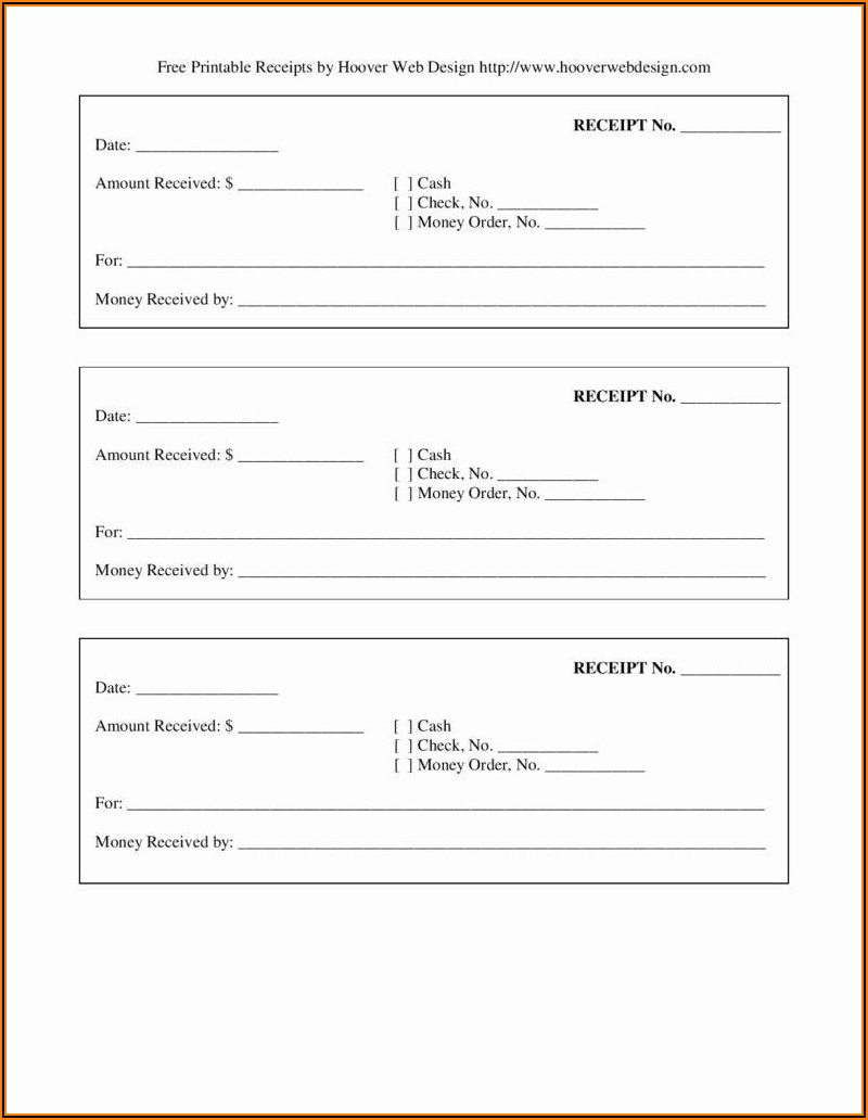 Free Cash Receipt Form