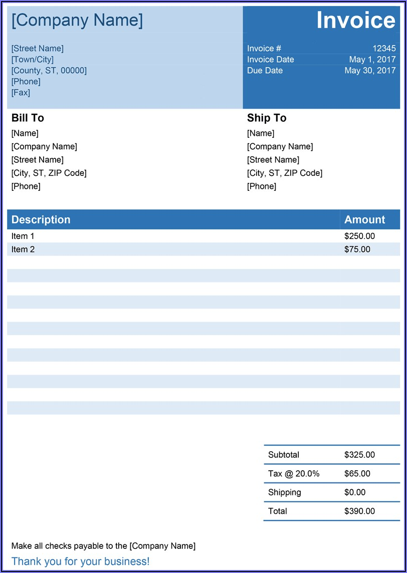Free Downloadable Invoice Templates Word
