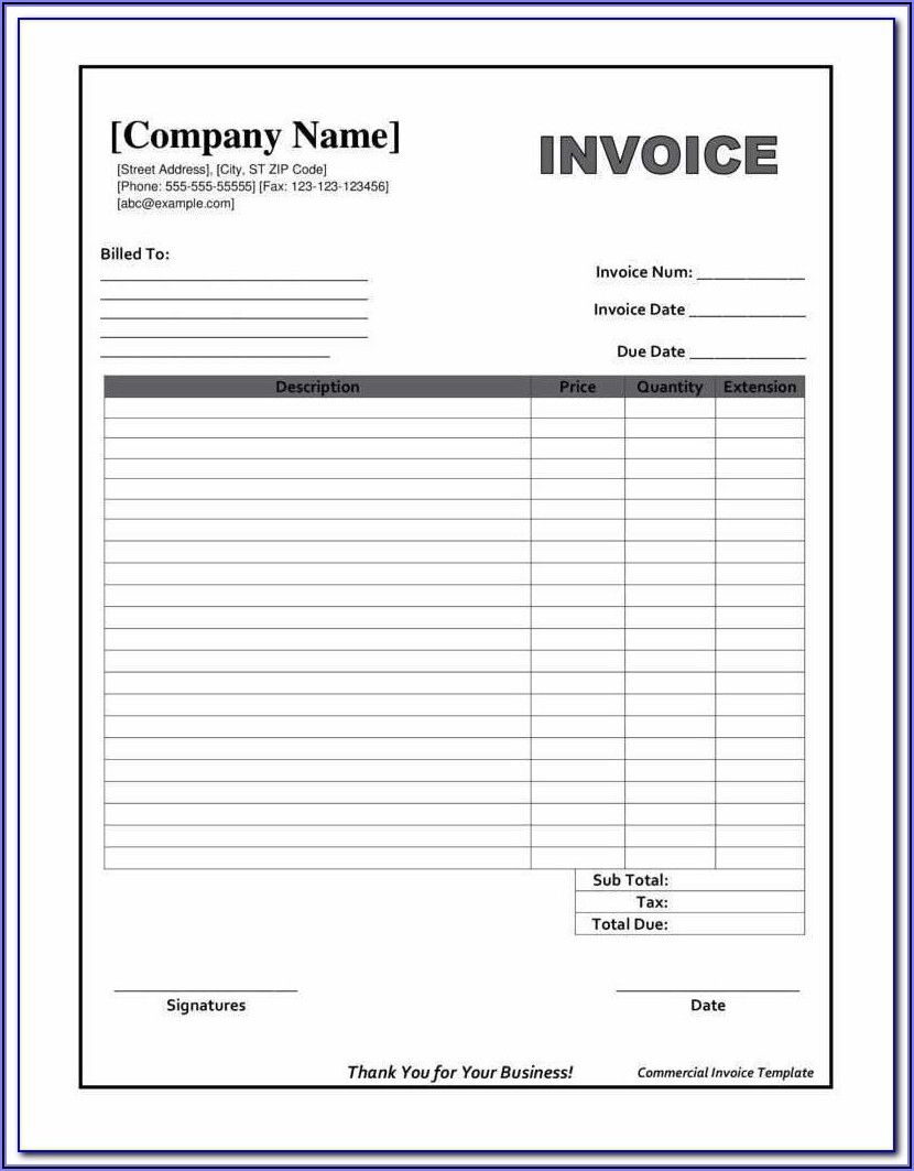 Free Fillable Invoice Templates