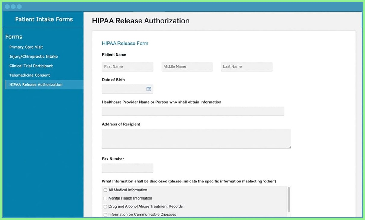 Free Hipaa Compliant Online Intake Forms