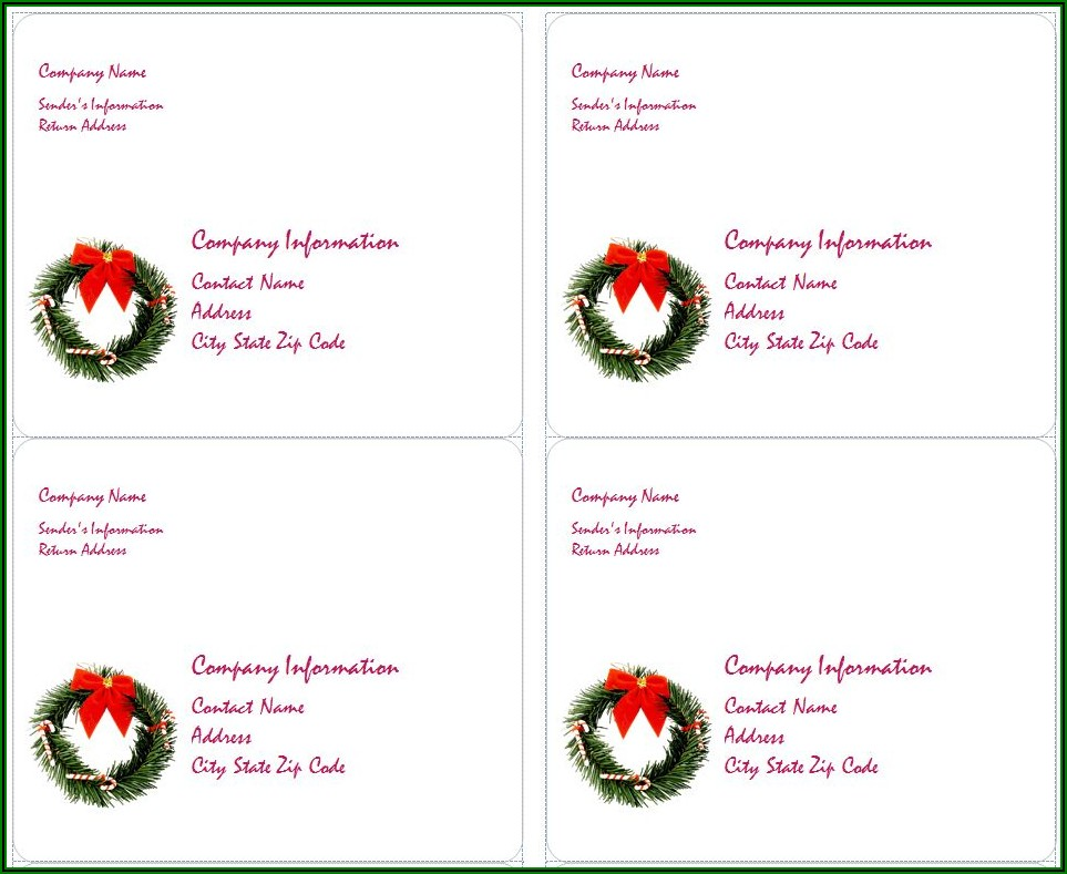 Free Holiday Address Labels Templates