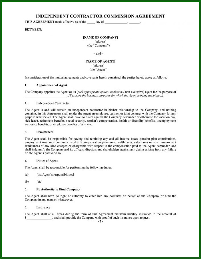 Free Independent Sales Rep Agreement Template