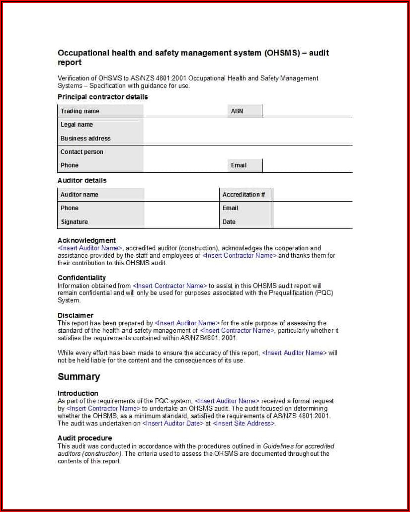 Free Internal Audit Report Template Iso 9001