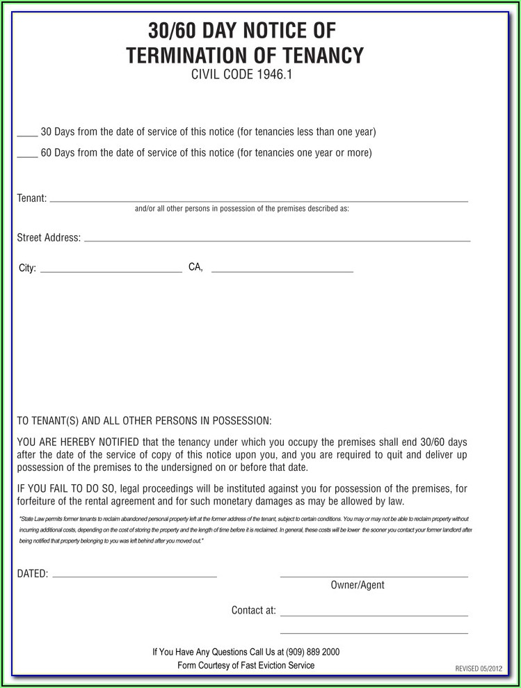 Free Landlord 30 Day Notice To Vacate Form