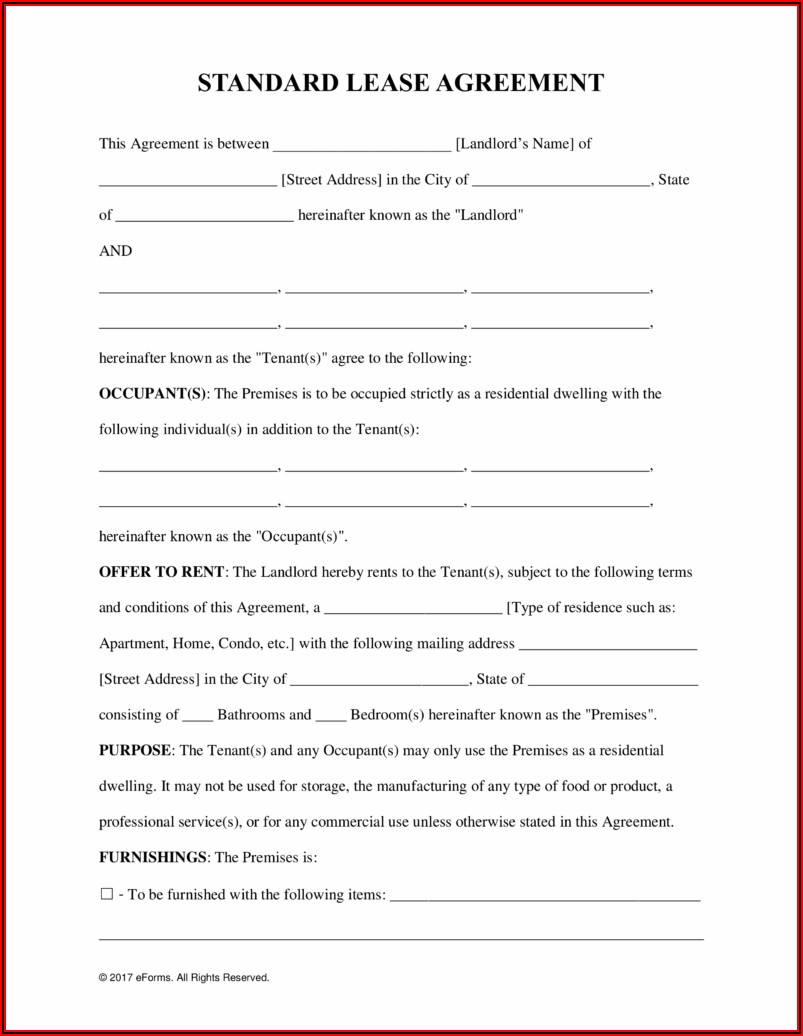 Free Lease Agreement Word Document